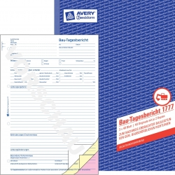 1777 Bau-Tagesbericht, DIN A4, selbstdurchschreibend, 3 x 40 Blatt, weiß, gelb, rosa