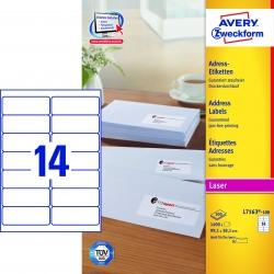 L7163-100 Adress-Etiketten (A4, 1.400 Stück, 99,1 x 38,1 mm) 100 Blatt weiß