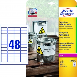 L4778-20 Wetterfeste Folien-Etiketten (A4, 960 Stück, 45,7 x 21,2 mm) 20 Blatt weiß