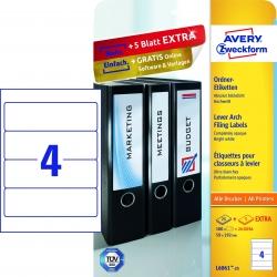 L6061-25 Ordner-Etiketten, 59 x 192 mm, breite Ordner (kurz), 30 Bogen/120 Etiketten, weiß
