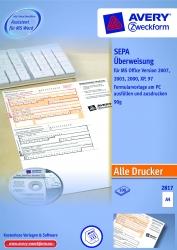 2817 Sepa-Überweisung - A4, inkl. Software-CD, 100 Blatt