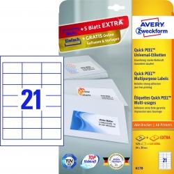 6170 Universal-Etiketten - 64 x 36 mm, weiß, 630 Etiketten/30 Blatt, permanent