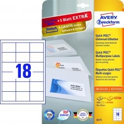 6171 Universal-Etiketten - 64 x 45 mm, weiß, 540 Etiketten/30 Blatt, permanent