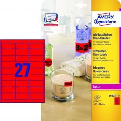 L6003-25 Etiketten in Sonderfarben, 63,5 x 29,6 mm, 25 Blatt/675 Etiketten, neonrot