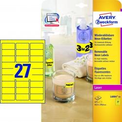 L6004-25 Etiketten in Sonderfarben, 63,5 x 29,6 mm, 25 Blatt/675 Etiketten, neongelb