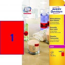 L6005-25 Etiketten in Sonderfarben, 210 x 297 mm, 25 Blatt/25 Etiketten, neonrot