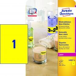 L6006-25 Etiketten in Sonderfarben, 210 x 297 mm, 25 Blatt/25 Etiketten, neongelb