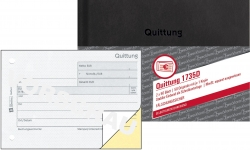 1735D Quittung MwSt. separat ausgewiesen, DIN A6, fälschungssicher, 2 x 50 Blatt, weiß, gelb