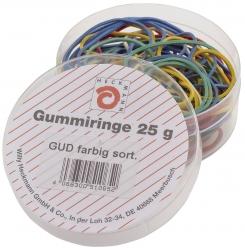 Gummiringe - farbig sortiert, Dose mit 25g
