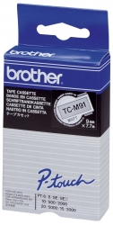 TC-M91 Schriftbandkassetten, laminiert, 9 mm x 7,7 m, schwarz auf farblos matt