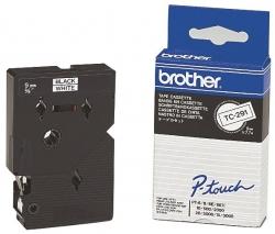 TC-291 Schriftbandkassetten, laminiert, 9 mm x 7,7 m, schwarz auf weiß