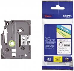 TZe-111 Schriftbandkassette - laminiert, 6 mm x 8 m, schwarz auf farblos