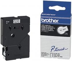 TC-201 Schriftbandkassetten, laminiert, 12 mm x 7,7 m, schwarz auf weiß