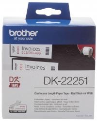 DK-Endlosetiketten Papier - 62 mm x 15,24 m, schwarz/rot auf weiß