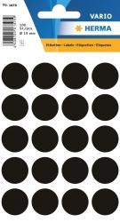 1879 Vielzwecketiketten - schwarz, Ø 19 mm, matt, 100 Stück