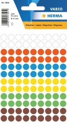 1831 Vielzwecketiketten - farbig sortiert, Ø 8 mm, matt, 540 Stück