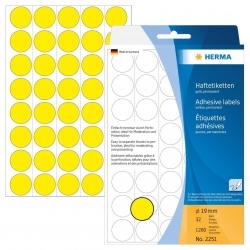 2251 Vielzwecketiketten - gelb, Ø 19 mm, matt, Trägerpapier perforiert, 1280 Stück