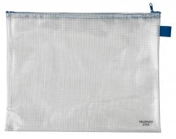 Reißverschlusstaschen - transparent/blau, A4, 355 x 270 mm