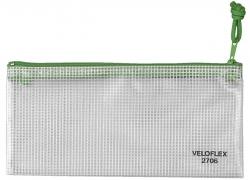 Reißverschlusstaschen - transparent/grün, A6, 200 x 100 mm