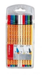Fineliner und Löscher point 88® Kombi-Etui, mit 10 Stiften