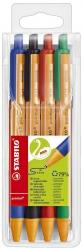 Kugelschreiber pointball, 0,5 mm, Etui mit blau, grün, rot, schwarz