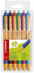 Kugelschreiber pointball, 0,5 mm, Etui mit blau, grün, rot, schwarz, lila, türkis