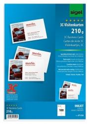 Visitenkarten, 3C, glatter Schnitt rundum, spezialbeschichtet, 210 g/qm, hochweiß, 100 Stück