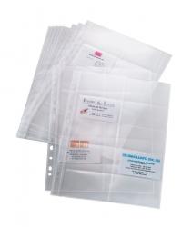 Hüllen für Visitenkarten-Ringbücher, zweireihig, A4, 10 Sichthüllen, für bis zu 200 Karten (max. 90x58 mm)