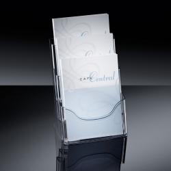 Tisch-Prospekthalter acrylic, mit 3 Fächern, glasklar, für A4