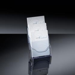 Tisch-Prospekthalter acrylic, mit 3 Fächern, glasklar, für A5