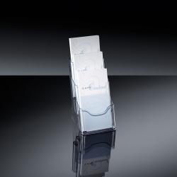 Tisch-Prospekthalter acrylic, mit 3 Fächern, glasklar, für DL