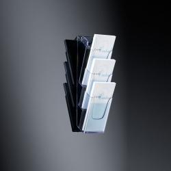Wand-Prospekthalter acrylic, mit 3 Fächern, glasklar, für DL