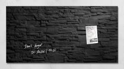 Glas-Magnetboard artverum®, Design Schiefer-Stone, 91 x 46 cm