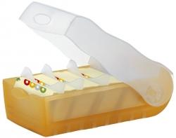 Karteibox CROCO, DIN A8, für 500 Karten, incl. 5 Stützplatten, orange-transl.