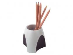 Stifteköcher DELTA, lichtgrau-schwarz