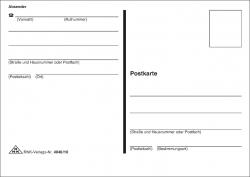 Postkarte mit Absender, A6, 1 Block mit 10 Stück