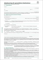 Arbeitsvertrag für gewerbliche Arbeitnehmer, 2 Seiten, DIN A4, 10 Stück