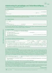 Arbeitsvertrag geringfügig Beschäftigte - SD, 2x2 Blatt + Zusatzblatt, DIN A4