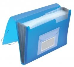 Fächermappe - 13 Taschen, 250 Blatt, PP, transluzent blau