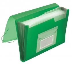 Fächermappe - 13 Taschen, 250 Blatt, PP, transluzent grün