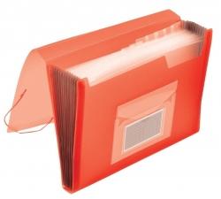 Fächermappe - 13 Taschen, 250 Blatt, PP, transluzent rot