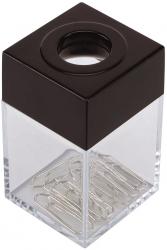 Büroklammernspender, eckig - schwarz/transparent, 42 x 70 x 42 mm