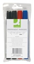Permanentmarker, ca. 2 - 5 mm, 4-er Etui: blau, rot, 2 x schwarz