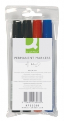 Permanentmarker, ca. 2 mm, 4-er Etui: blau, rot, 2 x schwarz