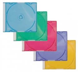 CD-Boxen Standard - Slim Line für 1 CD/DVD, farbig sortiert, Packung mit 25 Stück