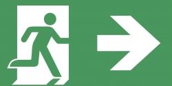 Schild Rettungsweg rechts selbsklebend