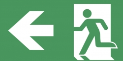 Schild Rettungsweg links selbstklebend