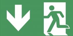 Schild Rettungsweg runter selbstklebend