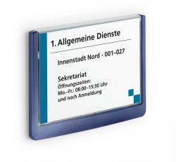 Türschild CLICK SIGN, Rahmen dunkelblau, 149 x 105,5 mm, transparent