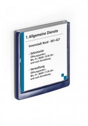 Türschild CLICK SIGN, Rahmen dunkelblau, 149 x 148,5 mm, transparent